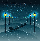 Cristmas Santa Claus and reindeers ,Street lights with Christmas. Decorations ,vector, greeting card Stock Images
