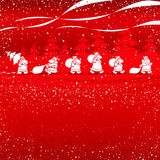 Cristmas Santas walking Stock Photo