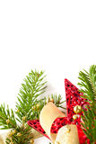 Cristmas seasonal background with spruce and beads. Cristmas seasonal background with spruce and golden beads isolated Royalty Free Stock Photo
