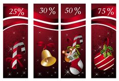 Cristmas set of banners. Banner sale winter bear bell decoration Stock Photography