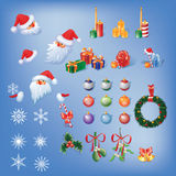 Cristmas set with santa Royalty Free Stock Photos