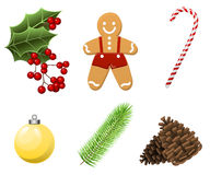 Cristmas Set with traditional realistic cartoon food and things stock illustration