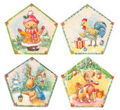 Cristmas set of watercolor illustrations. Dog, bear, rooster, de Stock Images