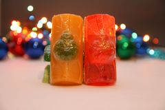 Cristmas soaps. Soaps with decoration with christmas light in background Royalty Free Stock Image