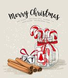 Cristmas still-life, candy canes in glass jar, cinnamon and jingle bells with text Merry Christmas, illustration Royalty Free Stock Photos