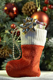 Cristmas stocking with presents Royalty Free Stock Photography