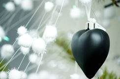 Cristmas tree. Cristmas and new year tree with black and white toys royalty free stock photos