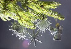 Cristmas tree. With toy by angel Royalty Free Stock Images