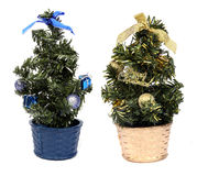 Cristmas tree. Beauty gold and blue Cristmas tree isolated on white Stock Photos