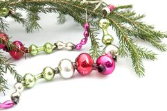 A Cristmas tree branch with antique decoration Stock Image