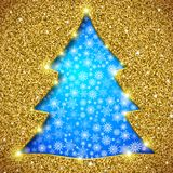 Cristmas tree card with glitter. And showflakes Royalty Free Stock Photos