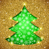 Cristmas tree card with glitter Royalty Free Stock Photo