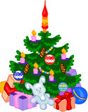 Cristmas tree with cones, balls, garlands and gifts Stock Images