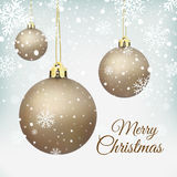 Cristmas Tree decorations on winter background Royalty Free Stock Photos