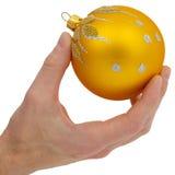 Cristmas-tree golden ball Stock Photos