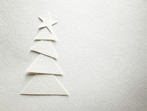 Cristmas tree paper cutting design card. Stock Photo