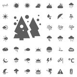 Cristmas tree and snow flakes icon. Weather vector icons set Stock Photography