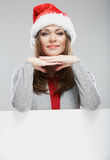Cristmas woman hold banner Royalty Free Stock Images