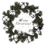 Cristmas wreath with fir branches, cooton flowers. Vector hand drawn illustration. Vintage Xmas art. Setched New Year Royalty Free Stock Image