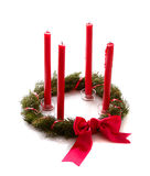 Cristmas wreath with red candles Royalty Free Stock Photo