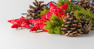 Cristmas y decoración del Año Nuevo en el fondo blanco Imagen de archivo libre de regalías