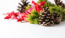 Cristmas y decoración del Año Nuevo en el fondo blanco Fotos de archivo libres de regalías