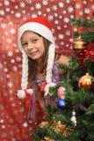 cristmasflicka Fotografering för Bildbyråer