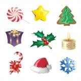 cristmassymbolsset Arkivfoto