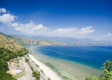 Cristo在帝力东帝汶附近的rei海滩 免版税库存照片