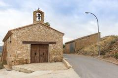 Cristo de la Agonia Hermitage en el pueblo de Lechago, provincia de Teruel, ³ n, España de Aragà fotografía de archivo libre de regalías