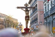 Cristo de los Alabarderos, na procissão da Semana Santa em louco Fotos de Stock Royalty Free