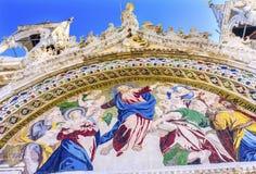 Cristo dura la chiesa Venezia Italia del ` s di St Mark del mosaico di giudizio Fotografia Stock Libera da Diritti