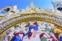 Cristo dura la chiesa Venezia Italia del ` s di St Mark del mosaico di giudizio Fotografia Stock