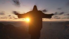 Cristo el Redemeer en la puesta del sol, Rio de Janeiro, primer, cantidad común almacen de metraje de vídeo