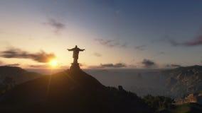 Cristo el Redemeer en la puesta del sol, Rio de Janeiro, toma panorámica de la cámara, cantidad común almacen de video