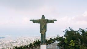 Cristo el redentor en Pico Isabel de Torres Imágenes de archivo libres de regalías