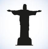 Cristo el redentor, Rio de Janeiro, el Brasil Bosquejo del vector ilustración del vector