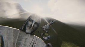 Cristo el vídeo destruido redentor stock de ilustración