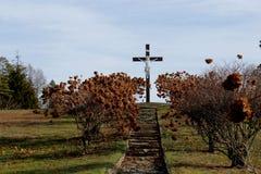 Cristo em um crucifixo fotografia de stock