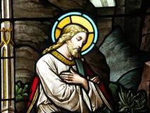 Cristo en vidrio manchado Foto de archivo libre de regalías