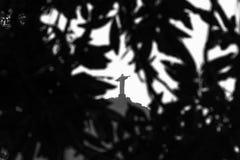 Cristo il redentore, statua, inserita nel telaio delle foglie Fotografia Stock