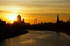 Cristo la catedral del salvador en la puesta del sol moscú Fotografía de archivo