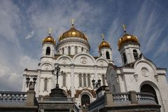 Cristo la catedral del salvador en Moscú contra Foto de archivo