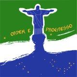 Cristo la statua del redentore dentro in Rio de Janeiro, Brasile illustrazione di stock