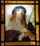 Cristo nella finestra di vetro macchiato Fotografie Stock