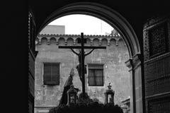 Cristo nella processione della settimana santa a Elche, Spagna fotografia stock libera da diritti