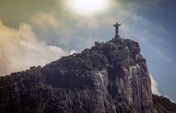 Cristo o redentor no sol, Rio de janeiro fotos de stock royalty free