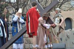 Cristo que lleva la cruz Foto de archivo libre de regalías