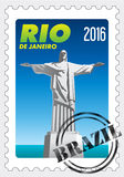 Cristo Redentor (Christ the Redeemer) on stamp with rubber stamp. Rio de Janeiro. Vector image Stock Images