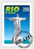 Cristo Redentor (Christus de Verlosser) op zegel met rubberzegel Rio de Janeiro Vector beeld stock illustratie